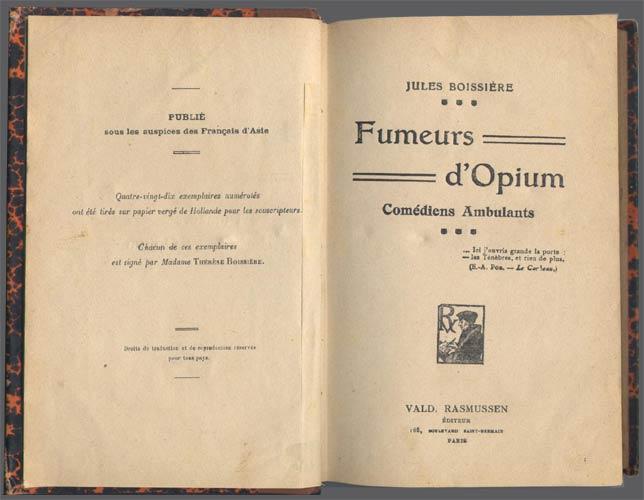 page de titre de fumeurs opium de jules boissière, en vente sur www.wanted-rare-books.com/fumeurs.htm
