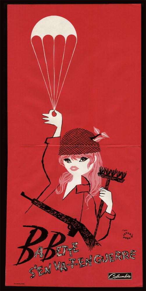 Babette s'en va-t-en guerre, Brigitte Bardot, Babette Goes to War, Lefor Openo, 1959, affiche moyen format : 79cmx38,50cm, en vente  sur www.wanted-rare-books.com/Brigitte-Bardot-babette-s-en-va-t-en-guerre-affiche-rouge.htm
