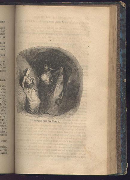 Gravure: un assassinat en Corse, du livre: Histoire dramatique des brigands célèbres,B. Renault Edition 1845,livre en vente sur www.wanted-rare-books.com/histoire-dramatique-des-brigands-celebres-sur-mer-et-sur-terre.htm