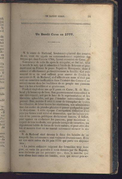 Un bandit Corse en 1777, chapitre  du livre: Histoire dramatique des brigands célèbres,B. Renault Edition 1845,livre en vente sur www.wanted-rare-books.com/histoire-dramatique-des-brigands-celebres-sur-mer-et-sur-terre.htm