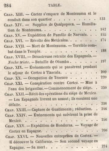 sommaire du livre : Aventures et conquêtes de  Cortez au Mexique