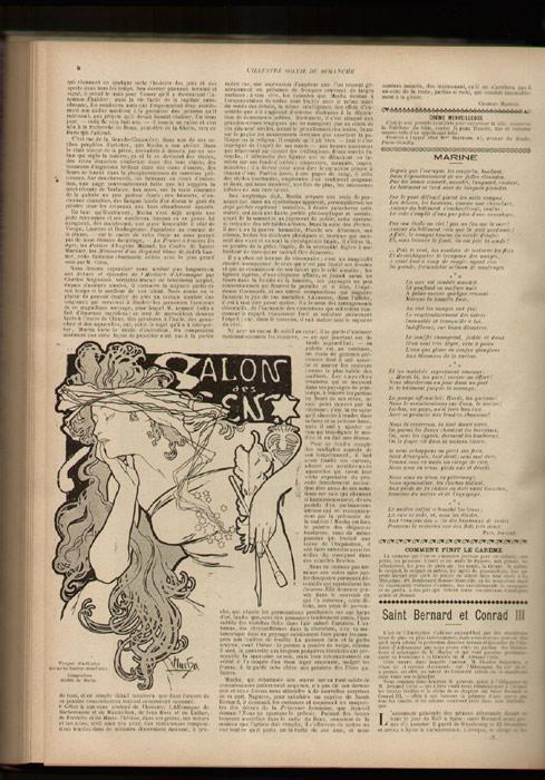 projet publicitaire illustrant l'article biographique sur le peindre Mucha