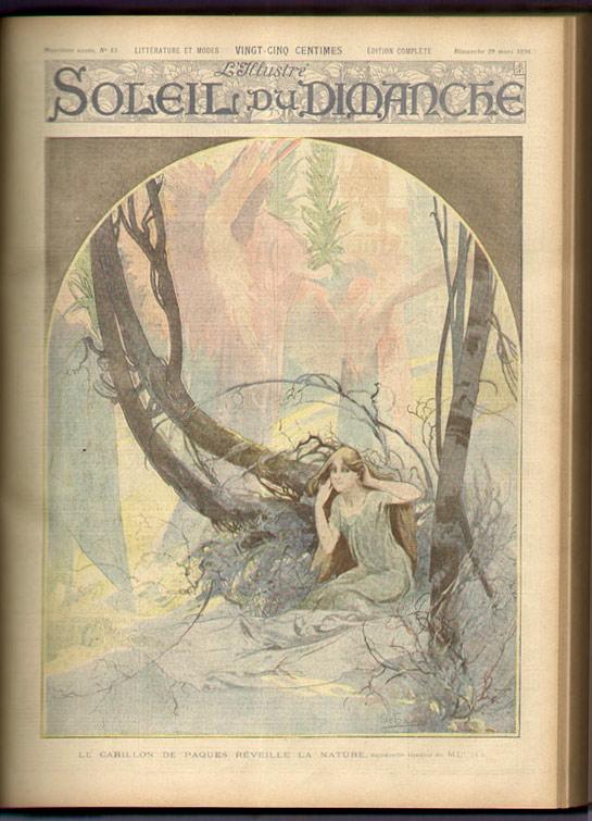 Mucha aquarelle inédite, contenue dans la reliure l'Illstré Soleil du Dimanche