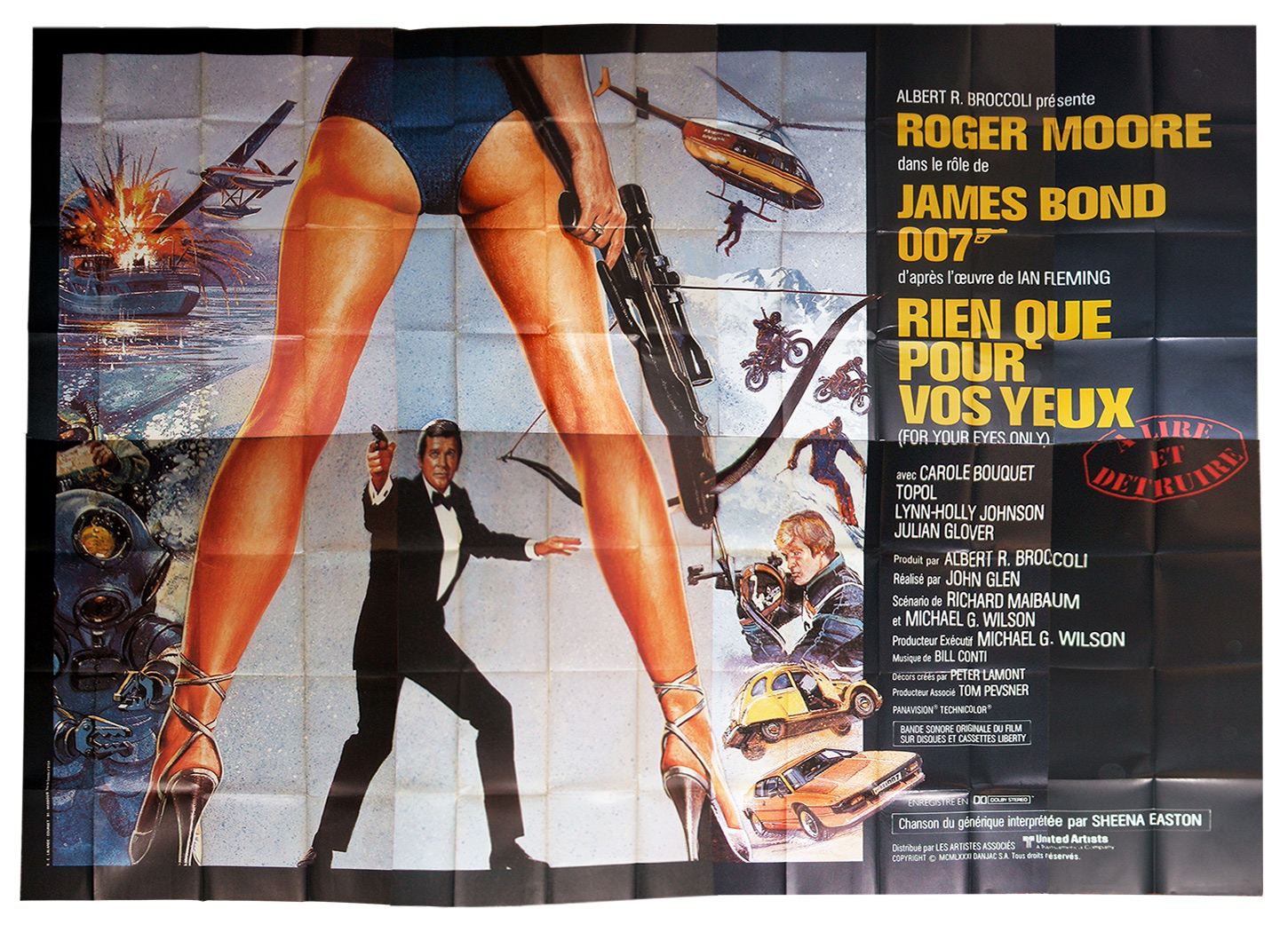 affiche du film: Rien que pour vos yeux,for your eyes only, affiche originale du film de John Glen, acteurs Roger Moore, Carole Bouquet, sur www.wanted-rare-books.com/james-bond-007-rien-que-pour-vos-yeux-for-your-eyes-only-affiche-film.htm -  Librairie on-line Marseille, http://www.wanted-rare-books.com/