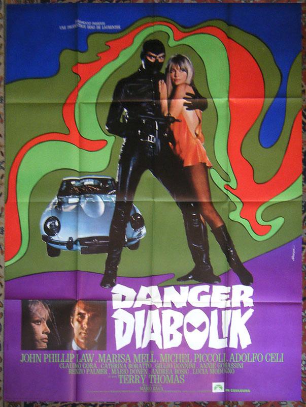 Affiche : Danger Diabolik, Mario Bava, 1968, avec John Phillip Law, Marisa MELL et Michel Piccoli, éditée par la Paramount en 1968, moyen format : 80x60, en vente  sur www.wanted-rare-books.com/danger-diabolik-mario-bava-marisa-mell-affiche-120x160.htm - Librairie on-line Marseille