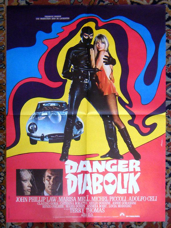 Danger Diabolik, Mario Bava, 1968, avec John Phillip Law, Marisa MELL et Michel Piccoli, éditée par la Paramount en 1968, moyen format : 80x60, en vente  sur www.wanted-rare-books.com/danger-diabolik-mario-bava-1968-affiche-80x60.htm - Librairie on-line Marseille