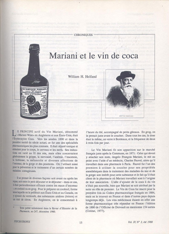 Psychotropes : grand article Mariani et le vin à la coca, de William Helfand, en vente  sur www.wanted-rare-books.com/psychotropes-revue-the-marvelous-elixir-of-monsieur-mariani-vermeulen-windsant-dean-latimer.htm - Librairie on-line Marseille