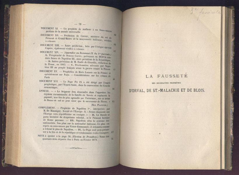 Ouvrage Nº3 - Gand 1872 - La fausseté dans les soi-disantes prophéties d'Orval, de Saint-Malachie et de Blois ( 7 documents prophétiques ) - www.wanted-rare-books.com - Librairie on-line - Marseille