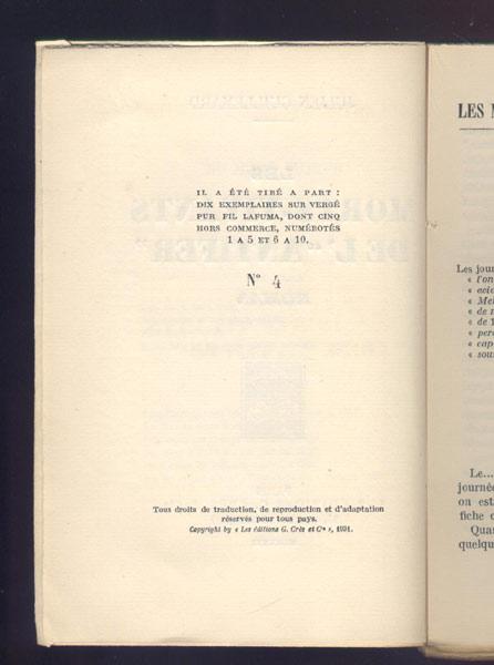 Auteur: Julien Guillemard titre: les morts vivants de l' antifer édition originale: Crès et cie 1931, exemplaire numéroté en vente sur www.wanted-rare-books.com/guillemard-julien-les-morts-vivants-de-l-antifer-isis.htm