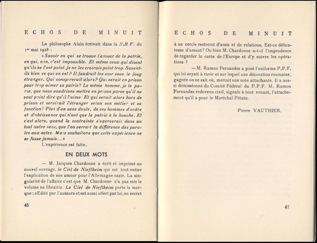 Les Cahiers de Libération 1943 parlent de :Le Ciel de Nieflheim