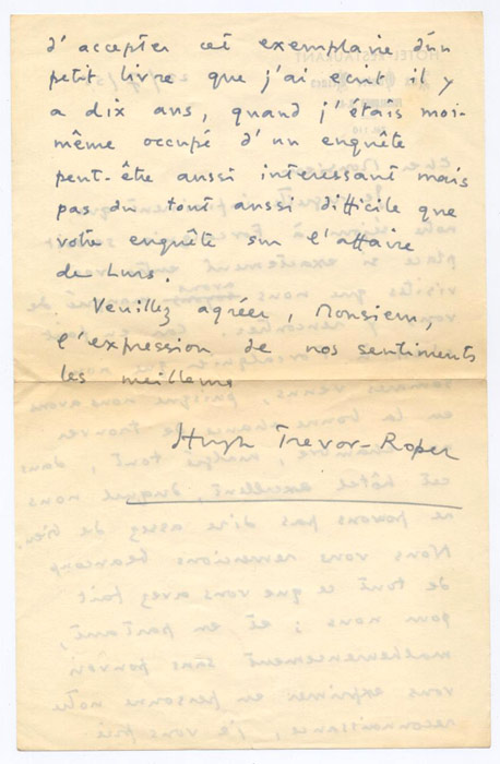 hugh trevor roper essays In 1957 hr trevor-roper by hugh trevor-roper to his professional colleagues trevor-roper's reputation rests above all on his essays.