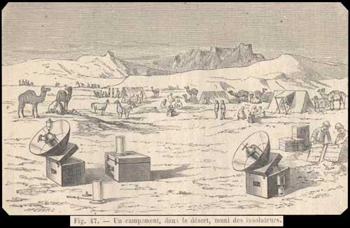 Louis de Royaumont campement du désert avec des insolateurs
