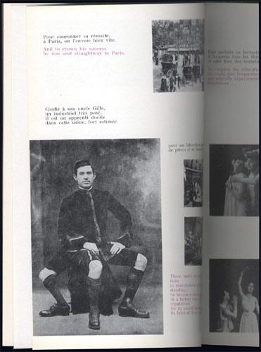 Page illustrée de cartes postales : racontant l'histoire du film imaginaire