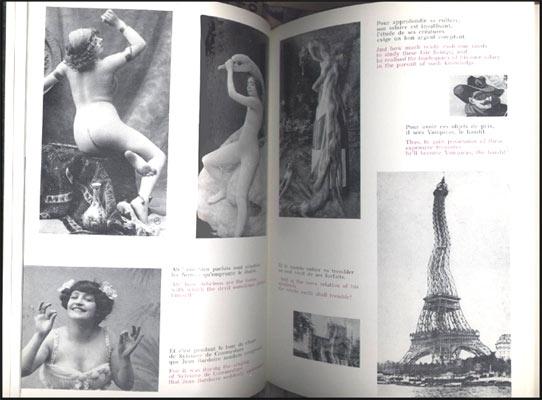 Double page illustrée de cartes postales : femmes légèrement vétues , Tour Eiffel gondolée ..