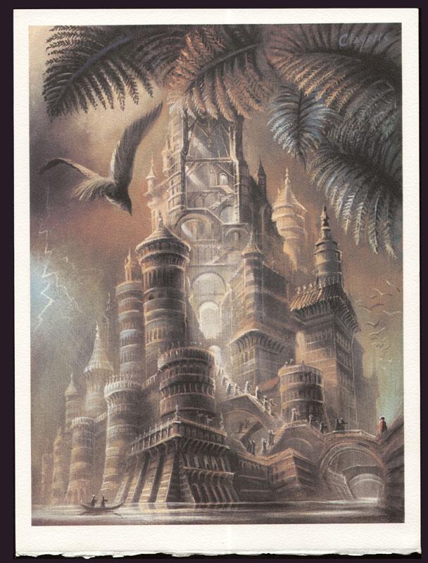 Une des 5 compositions originales de Pierre Clayette pour illustrer Songes de pierres , titrée Le Château
