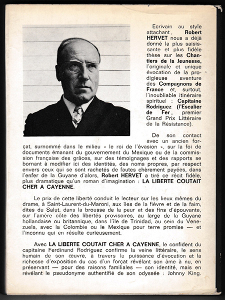 sous-titre : Confession de Charles HUT ancien forcat , auteur: HERVET Robert,Editions France-Empire 1968 sur  www.wanted-rare-books.com/hervet-robert-la-liberte-coutait-cher-a-cayenne.htm et sur www.wanted-rare-books.com/moderne.htm