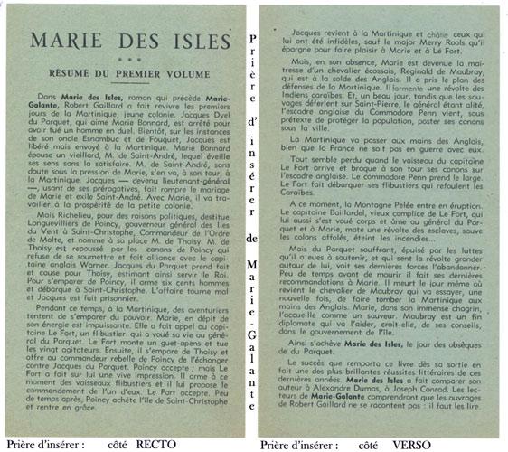 Auteur: Robert Gaillard, titre: Marie-Galante, Editions:  André MARTEL 1948 E.O. en BE voir scan, livre en vente sur www.wanted-rare-books.com/gaillard-robert-marie-des-isles-marie-galante-cap-le-fort-les-heritiers-des-isles-livres.htm
