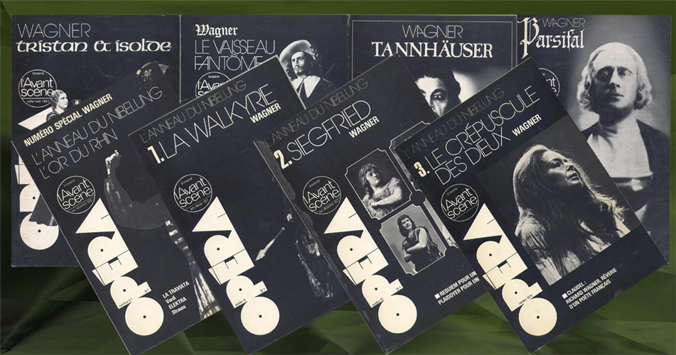 L'AVANT-SCENE OPERA, titre: l'or du Rhin,livre, la walkyrie, siegfried, le crepuscule des dieux, le vaisseau fantome, tristan et isolde,  parsifal, tannhauser, Editions: Premières Loges en  8 volumes, editions originales en TBE voir scan, livre en vente sur www.wanted-rare-books.com/wagner-richard-tetralogie-l-anneau-du-nibelung-vaisseau-fantome-tristan-isolde-parsifal-tannhauser-avant-scene-opera-livre.htm