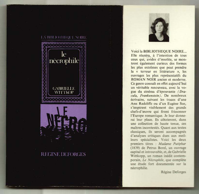 Auteur: Wittkop Gabrielle, titre: Le Nécrophile, Editeur: Régine Deforges, EO en TBE, livre en vente sur www.wanted-rare-books.com/le-necrophile-gabrielle-wittkop.htm