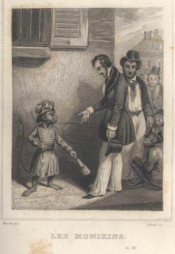 Gravure de : Les Monikins de James Cooper Fenimore,FURNE et compagnie Charles Gosselin Editeurs, numéro 14, 1839